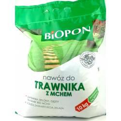 Biopon 10 kg Nawóz do trawnika z mchem anty mech z żelazem likwiduje mech odżywia trawnik