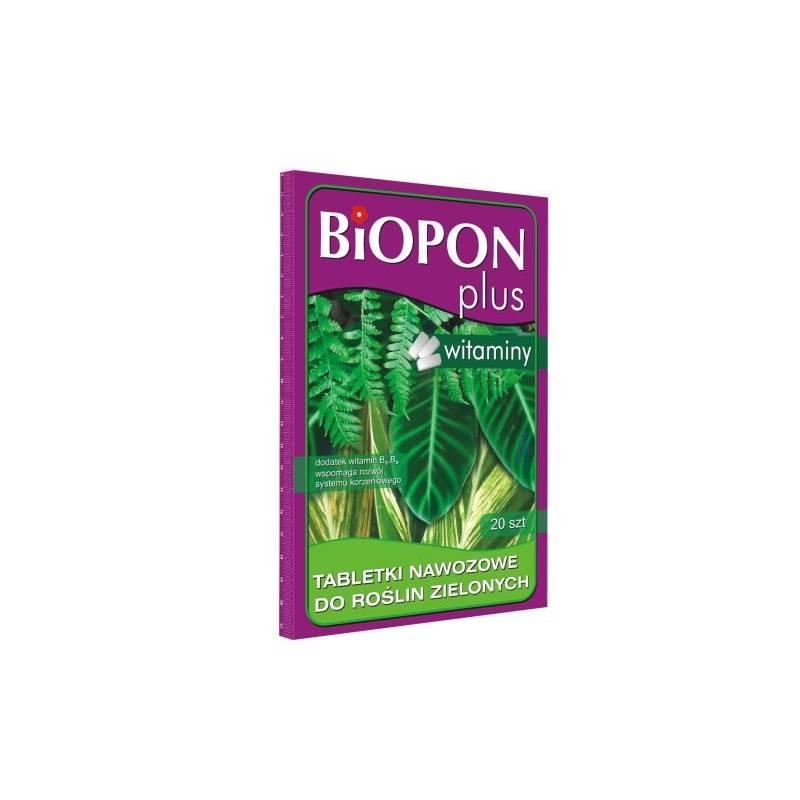 Biopon Plus 20szt. Tabletki nawozowe do roślin zielonych z witaminami