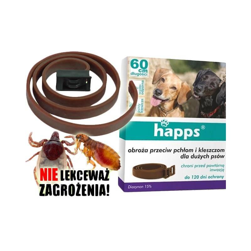 Happs 1szt. 60cm Obroża przeciw pchłom i kleszczom dla dużych psów