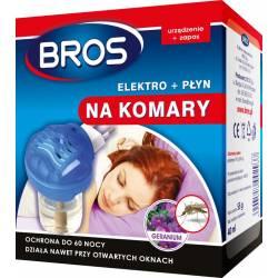 Bros Elektro + płyn na komary Zapach geranium Ochrona do 60 nocy