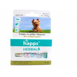 Happs Herbal 4x1ml krople na pchły i kleszcze dla małych psów do 10kg