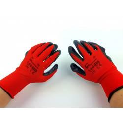 Rękawice robocze MOCNE 446 nitryl czerwone czarne rozmiar 10